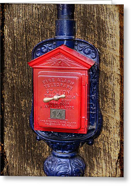 Knob Greeting Cards - Fire Alarm Greeting Card by Paul Freidlund