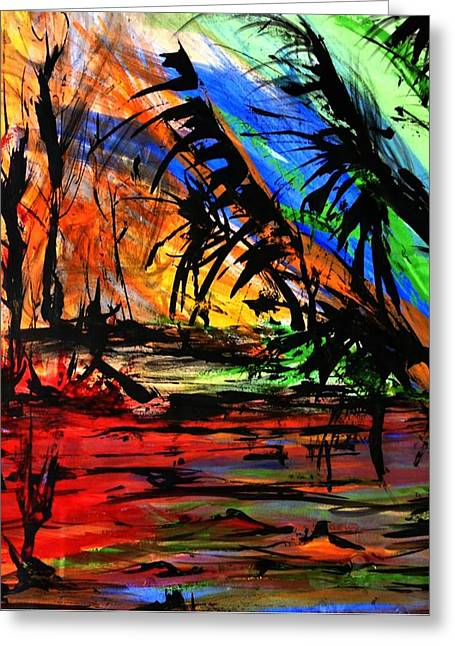 Floods Drawings Greeting Cards - Fire and Flood Greeting Card by Helen Syron