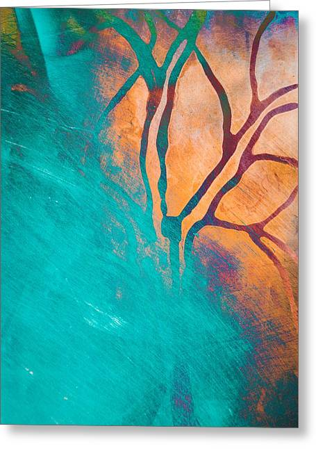 Fire And Ice Abstract Tree Art Teal Greeting Card by Priya Ghose