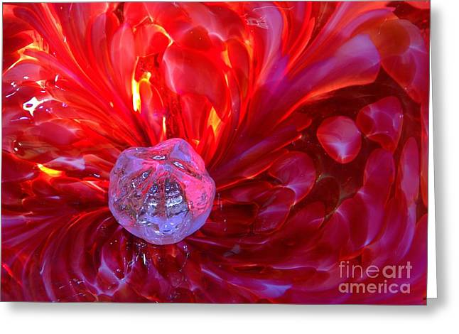 Shades Of Red Greeting Cards - Fire And Ice Greeting Card by Carol Komassa