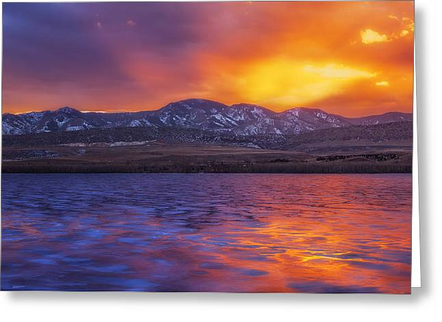 Sunset Prints Photographs Greeting Cards - Fire and Ice Greeting Card by Darren  White