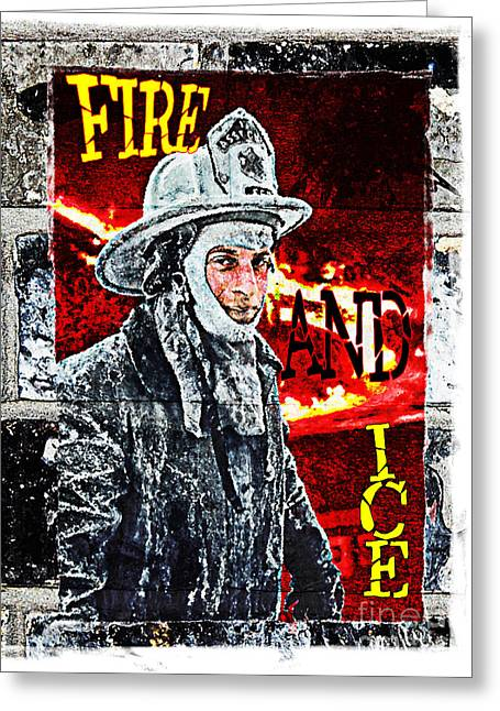 Photographs With Red. Greeting Cards - FIRE AND ICE Graffiti Art Greeting Card by Andrew Govan Dantzler