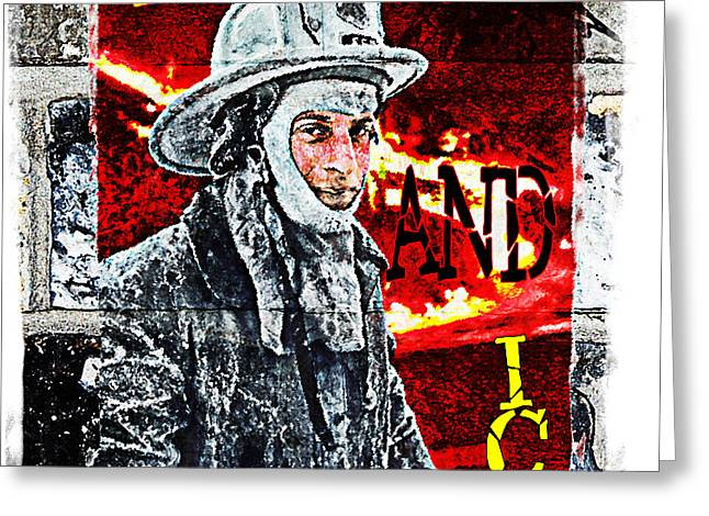 FIRE AND ICE Graffiti Art Greeting Card by Andrew Govan Dantzler