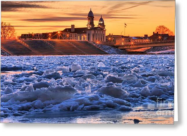 Old Street Greeting Cards - Fire And Ice In Lock Haven Greeting Card by Adam Jewell