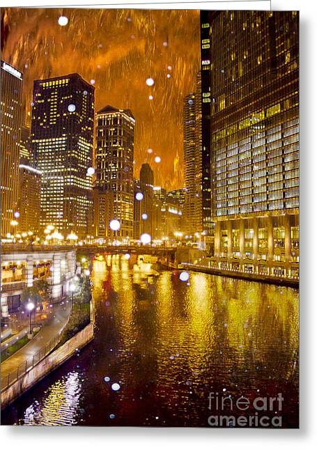 Magnificent Mile Digital Art Greeting Cards - Fire and Ice Greeting Card by Jeanette Brown