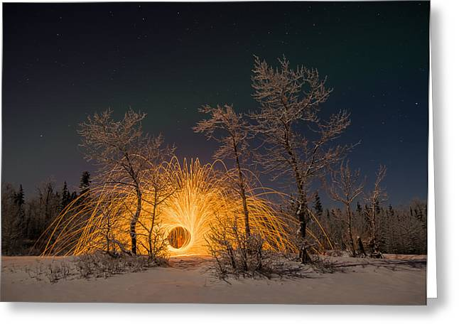 Snowy Night Night Greeting Cards - Fire and Ice Greeting Card by Jeff Ehlers