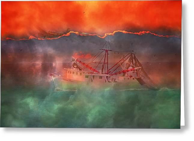 Shrimpers Greeting Cards - Fire and Ice Misty Morning Greeting Card by Betsy C  Knapp