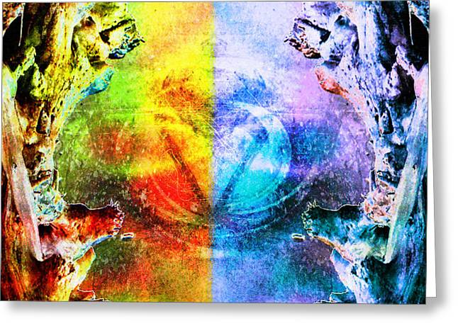 Evil And Good Digital Art Greeting Cards - Fire and Ice Greeting Card by Shawna  Rowe