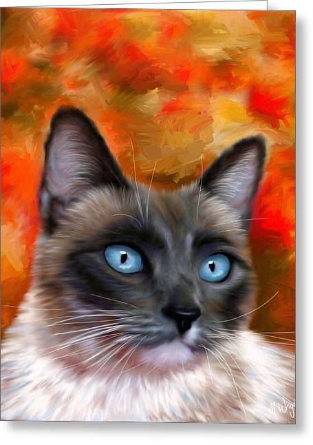 Michelle Wrighton Greeting Cards - Fire and Ice - Siamese Cat Painting Greeting Card by Michelle Wrighton