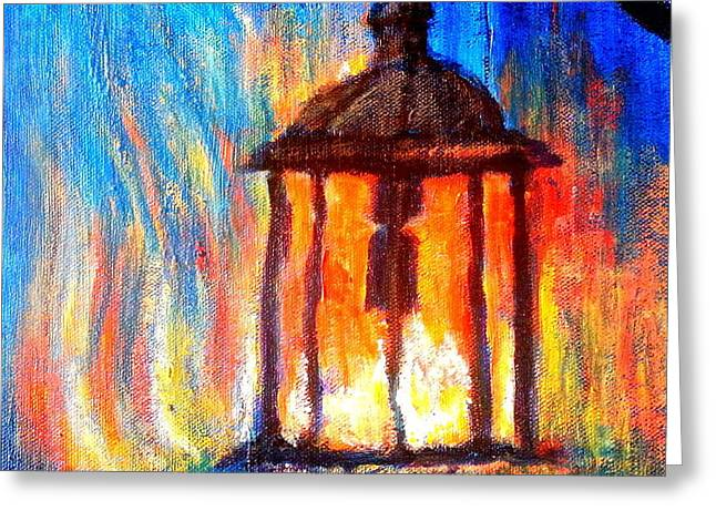 Blue Abstracts Greeting Cards - Fire and ice Greeting Card by Sue Jacobi
