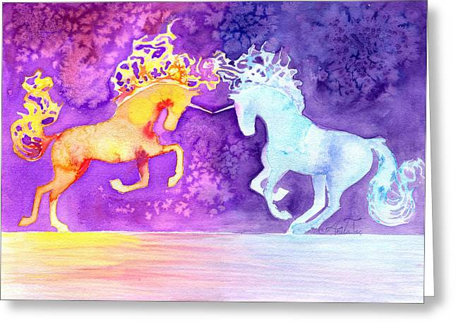Sweat Mixed Media Greeting Cards - Fire And Ice Unicorn Fight Watercolor Panting Greeting Card by Anila Tac