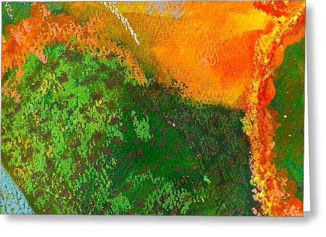 Broccoli Paintings Greeting Cards - Fire and Rain Greeting Card by Sherry Killam