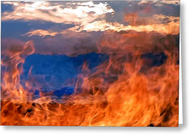 California Beaches Greeting Cards - Fire and Water Greeting Card by Barbie Corbett-Newmin