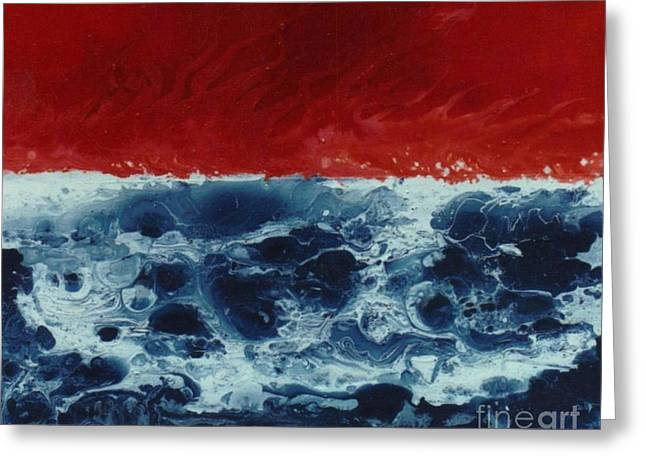 Contemporary Night Scape Greeting Cards - Fire and Water Greeting Card by David Neace