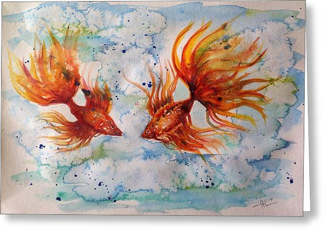 Betta Greeting Cards - Fire and water Greeting Card by Katerina Kovatcheva