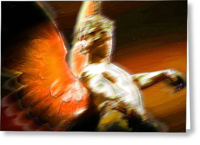 Pensive Mixed Media Greeting Cards - Fire Angel 2 Greeting Card by Tony Rubino