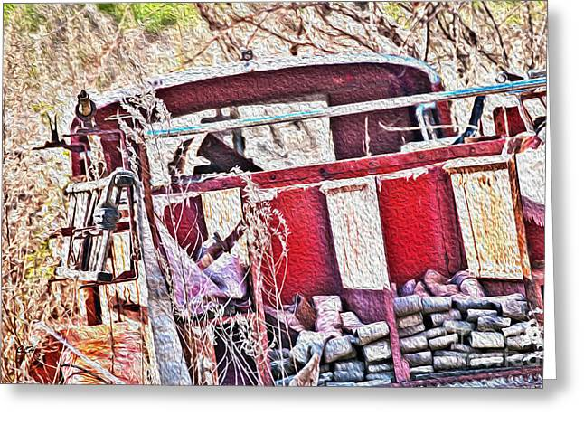Brigade Greeting Cards - To The Rescue - Antique - Firetruck Greeting Card by Crystal Harman