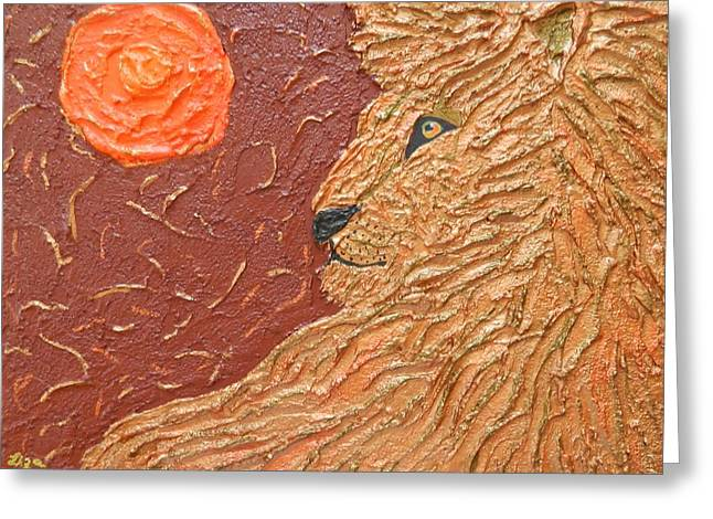 Contemporary Reliefs Greeting Cards - Fire at Night Greeting Card by Liza Wheeler