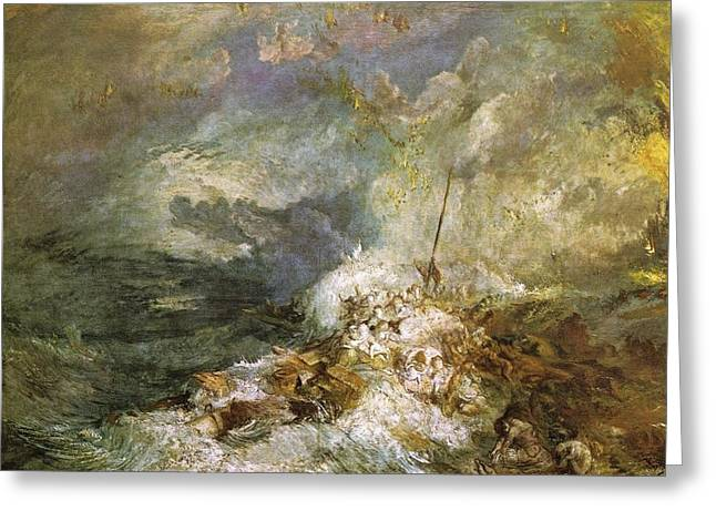 Painter Of Light Greeting Cards - Fire at Sea 1835 Greeting Card by J M W Turner