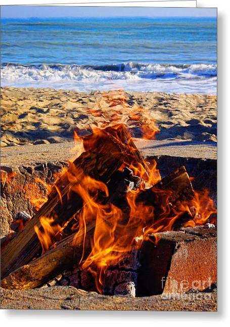 Firepit Greeting Cards - Fire at the Beach Greeting Card by Mariola Bitner