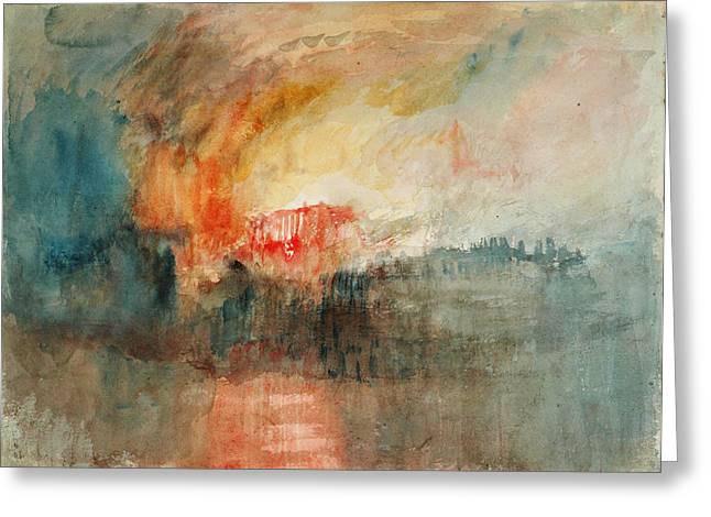 Nature Scene Paintings Greeting Cards - Fire at the Grand Storehouse of the Tower of London Greeting Card by Joseph Mallord William Turner
