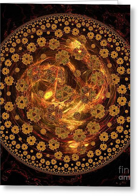 Fractal Orbs Greeting Cards - Fire Ball Filigree  Greeting Card by Elizabeth McTaggart