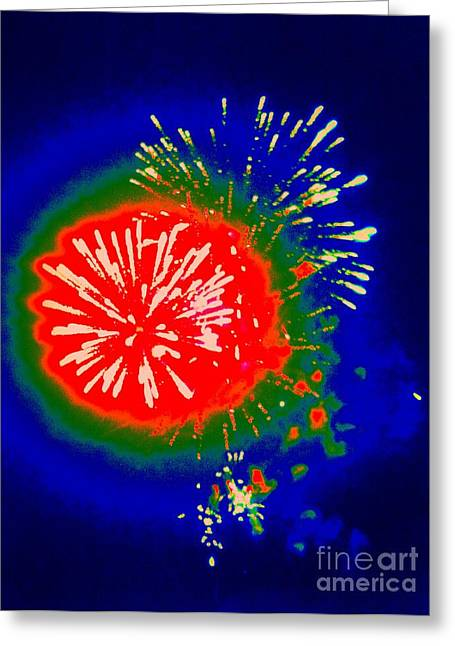 Rockets Red Glare Greeting Cards - Fire Ball Greeting Card by Shelia Kempf