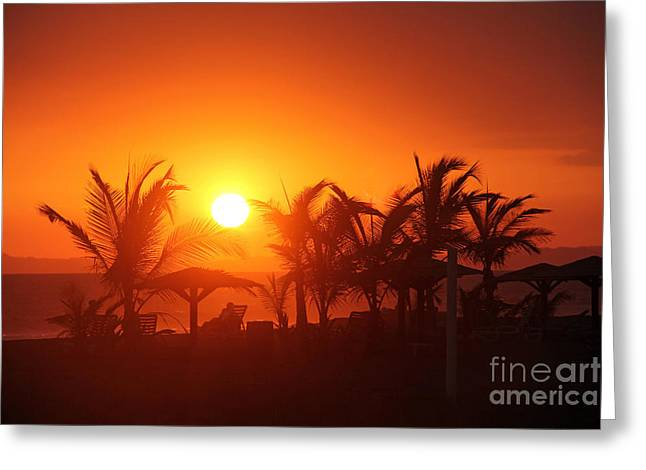Fire Ball Sunset Greeting Card by Bob Hislop