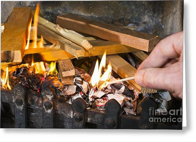 Grate Greeting Cards - Fire Being Lit Greeting Card by Martyn F. Chillmaid