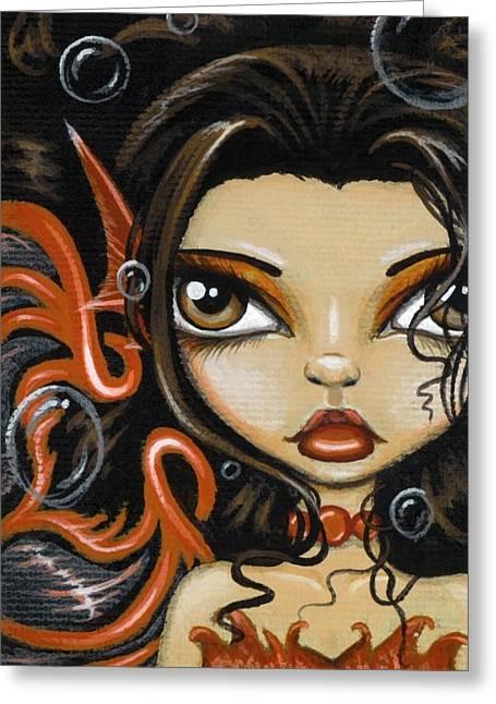 Mermaid Fantasy Art Greeting Cards - Fire Beneath The Sea Greeting Card by Elaina  Wagner