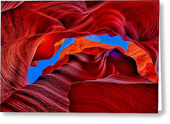 Lower Antelope Canyon Greeting Cards - Fire Beneath the Sky in Antelope Canyon Greeting Card by Greg Norrell
