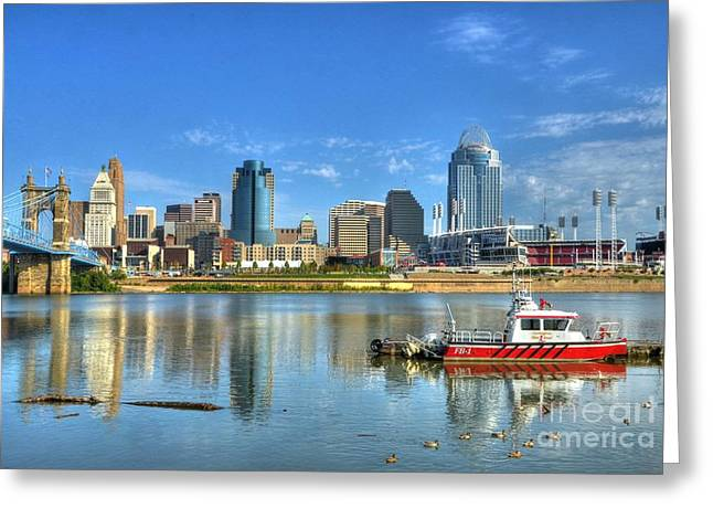 Greater Cincinnati Greeting Cards - Fire Boat 1 Greeting Card by Mel Steinhauer