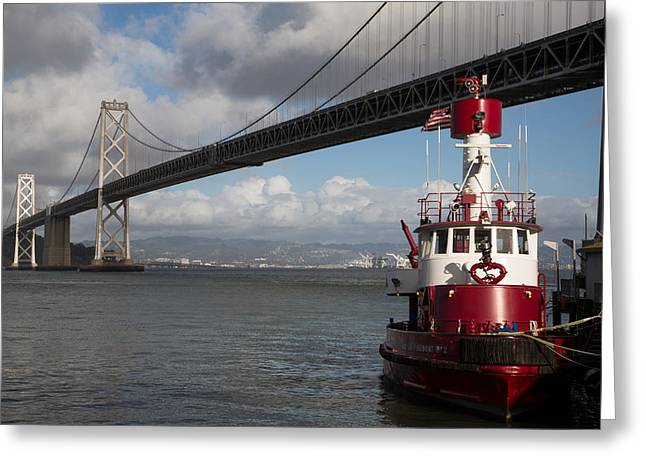 Fireboat Photographs Greeting Cards - Fire Boat #2 Greeting Card by John Daly