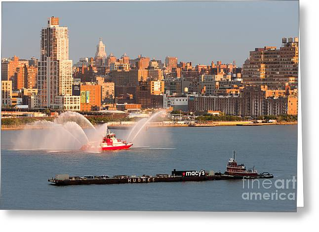 Hudson River Tugboat Greeting Cards - Fire Boat and Manhattan Skyline V Greeting Card by Clarence Holmes