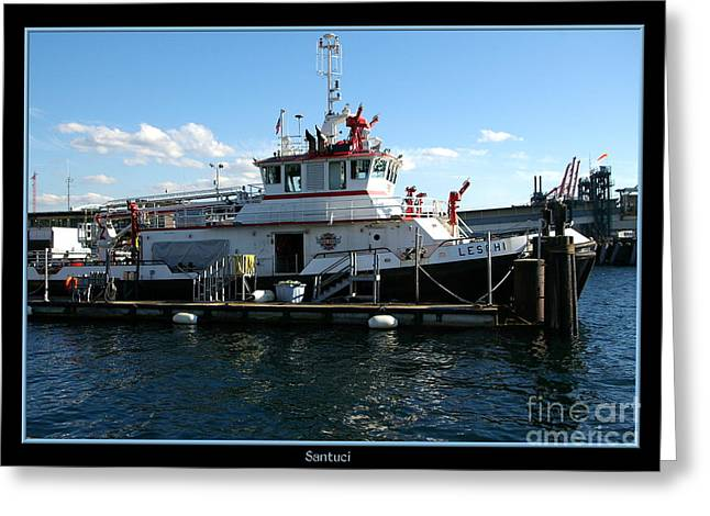 Fireboat Photographs Greeting Cards - Fire Boat Seattle Washington Greeting Card by Robert Santuci