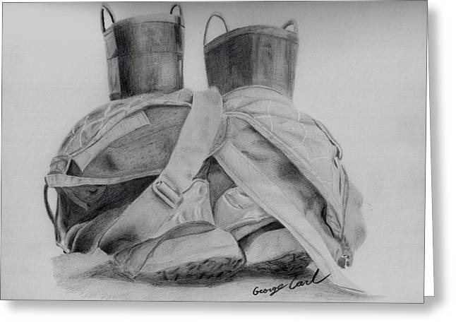 Top Seller Drawings Greeting Cards - Fire Boots Greeting Card by George Carl