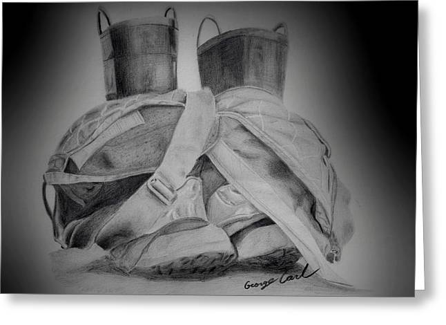 Black Boots Drawings Greeting Cards - Fire Boots Vignette Greeting Card by George Carl