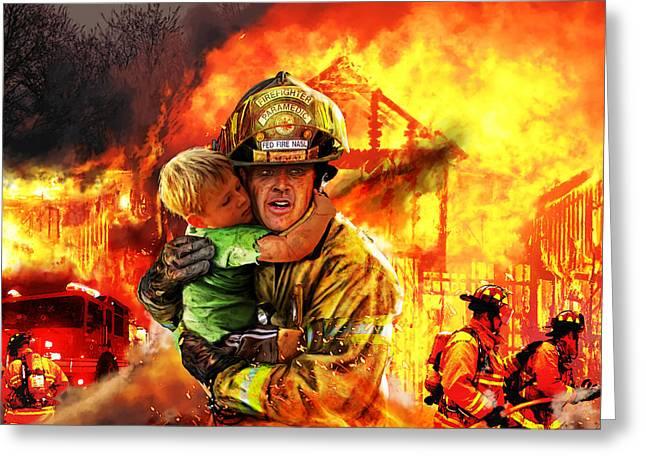 Burning Buildings Greeting Cards - Fire Brigade Greeting Card by Kurt Miller
