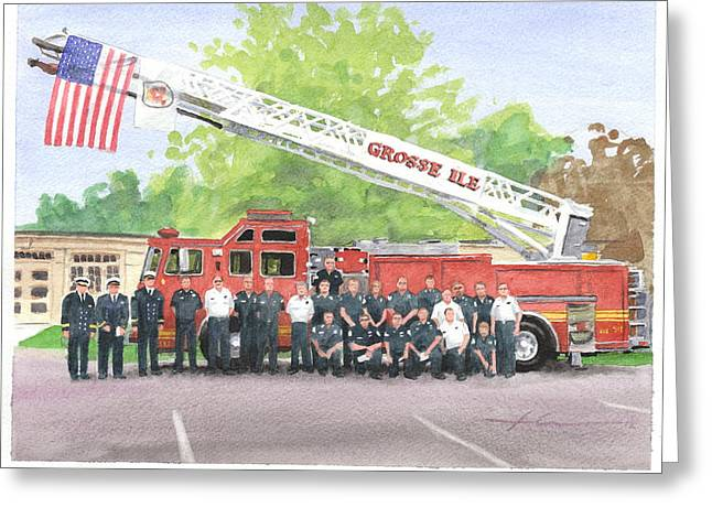 Brigade Drawings Greeting Cards - Fire Brigade Truck Watercolor Painting Greeting Card by Mike Theuer