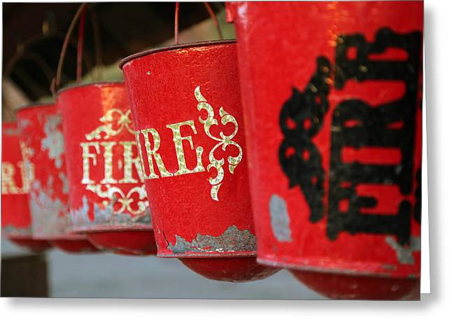 Yermo Greeting Cards - Fire Buckets at Calico Greeting Card by Michael Hope