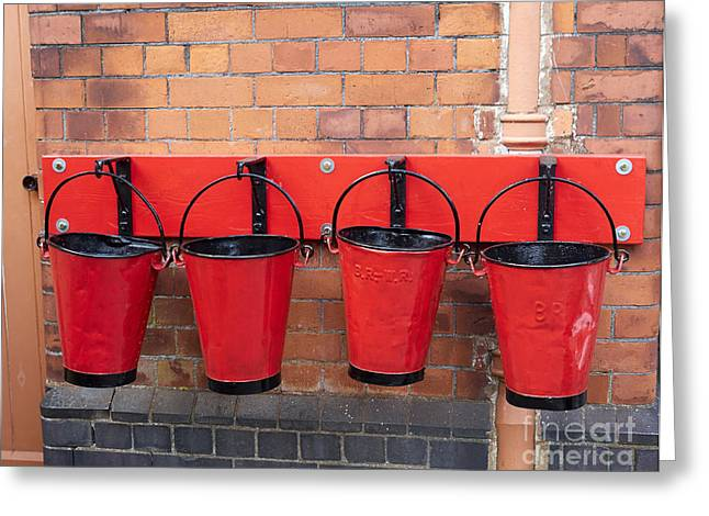 Wark Photographs Greeting Cards - Fire buckets at Toddington Railway Station Greeting Card by Louise Heusinkveld