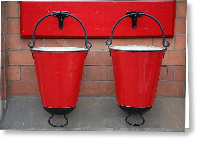 Mark Severn Greeting Cards - Fire Buckets Greeting Card by Mark Severn