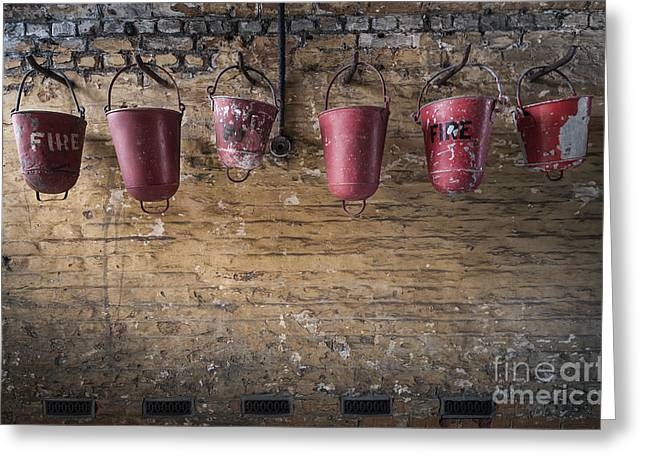 Red Wall Greeting Cards - Fire Buckets Greeting Card by Svetlana Sewell