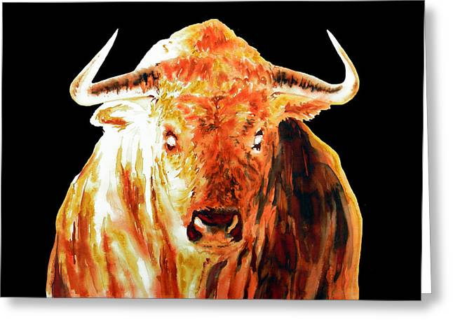 Unique Art Drawings Greeting Cards - Element Fire Bull In Black Greeting Card by Jose Espinoza