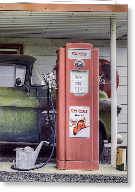 Gallons Greeting Cards - Fire Chief - Gas Pump - Retro Greeting Card by Nikolyn McDonald
