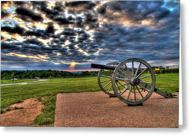Monument Photographs Greeting Cards - Fire Clouds Over a Gettysburg Cannon Greeting Card by Andres Leon