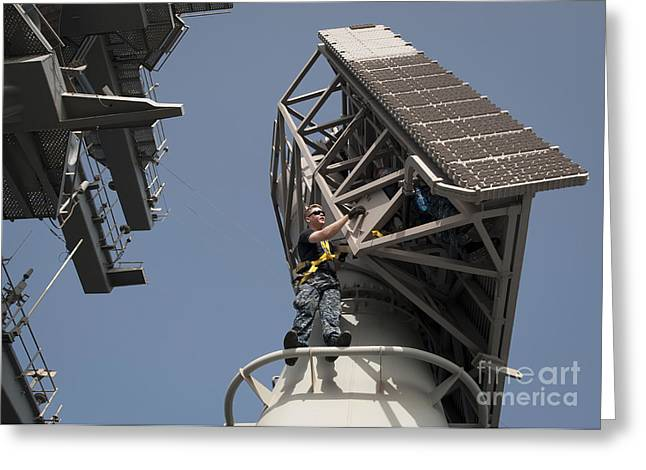Oes Greeting Cards - Fire Controlmen Conduct Maintenance Greeting Card by Stocktrek Images