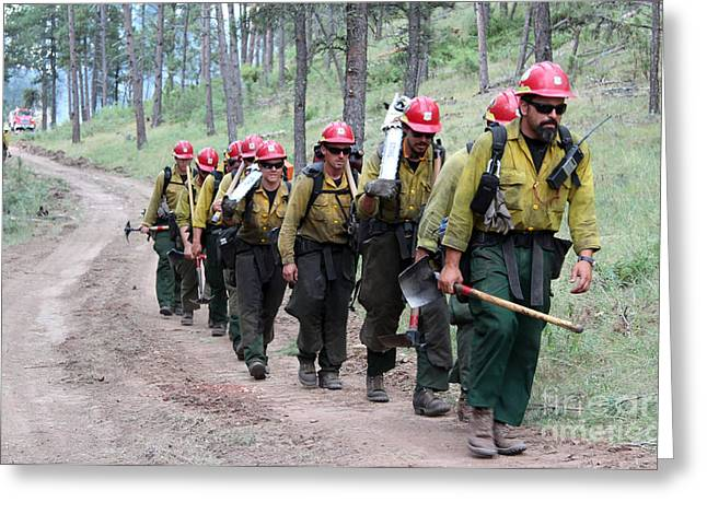 Greeting Card featuring the photograph Fire Crew Walks To Their Assignment On Myrtle Fire by Bill Gabbert