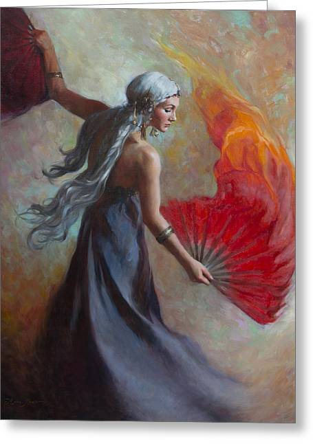 Dancer Art Greeting Cards - Fire Dance Greeting Card by Anna Bain