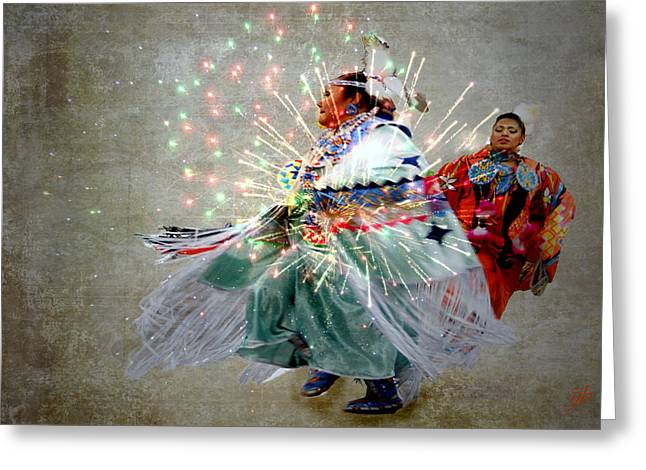4th July Digital Art Greeting Cards - fire Dance Greeting Card by Irma BACKELANT GALLERIES